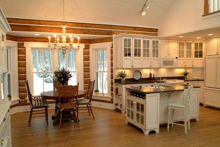 Rustic log cabin photos kitchen rustic with bay window integrated kitchen