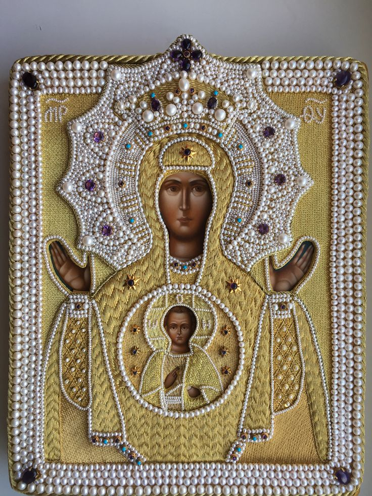 Icon frame. Goldwork, pearls, amethysts, turquoise. Embroidery made by Larissa Borodich