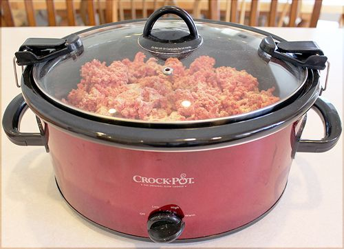 Browning ground beef in the crockpot is easy, and it's so convenient to freeze it to have on hand for quick dinners!