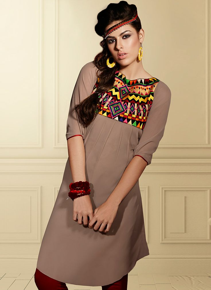 Adorable Brown Georgette #Kurti