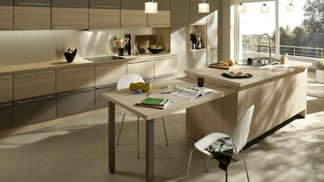 Ilot central cuisine avec table escamotable 2 cuisine for Ilot central avec table retractable