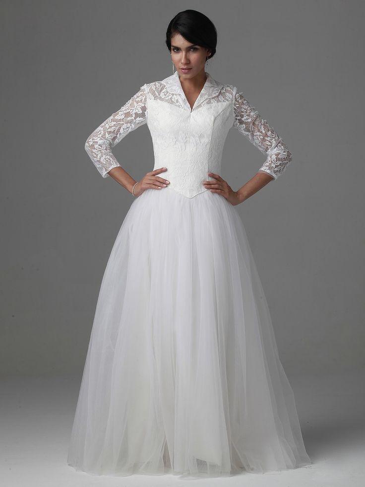 $298.98 A Line Princess V-Neck Floor Length Tulle Lace dress -Wedding Dresses-DeniseDress