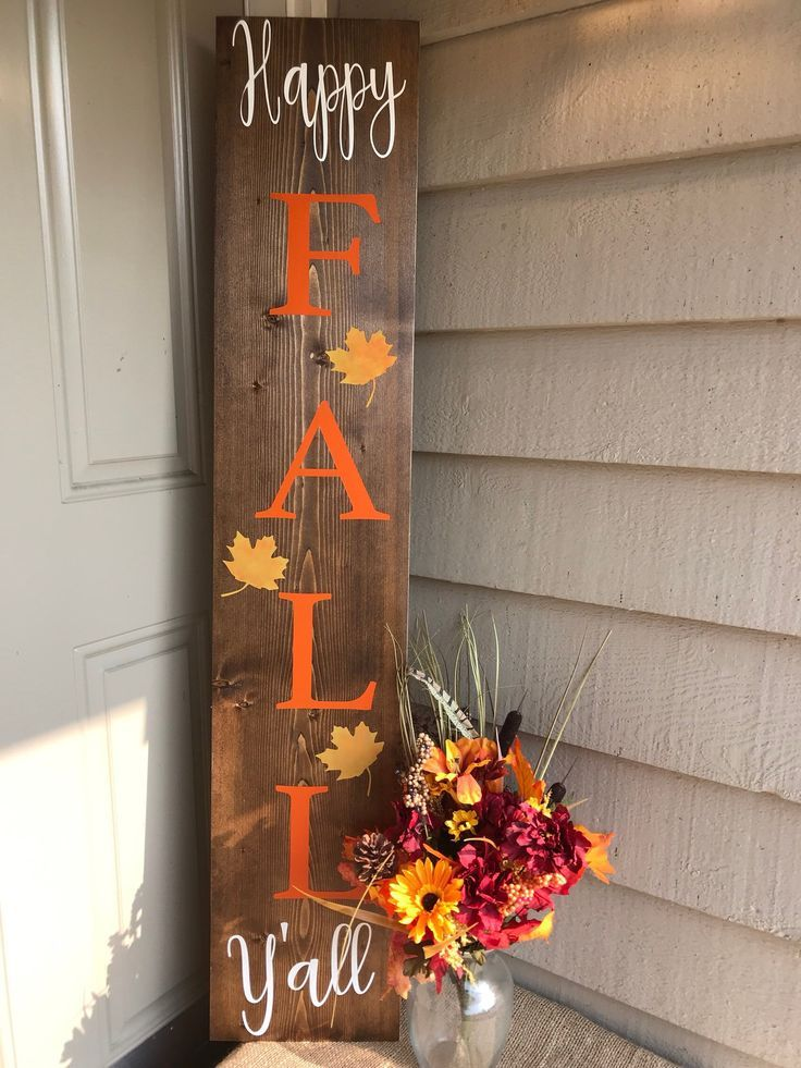 Reversible Porch Sign Happy Fall Y All Sweet Summer Etsy Fall Decorations Porch Fall Decor Diy Diy Fall