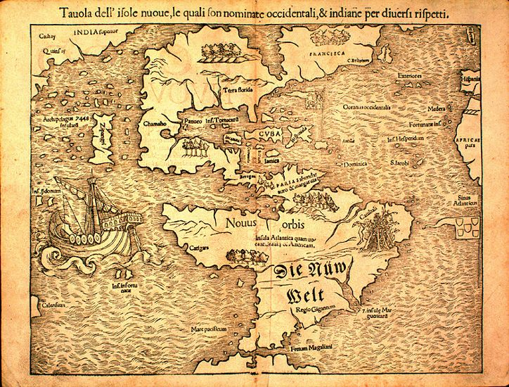 "Sebastian Münster's map of the New World, first published in 1540, popularized the idea of a ""Sea of Verrazano"" splitting the North American continent."