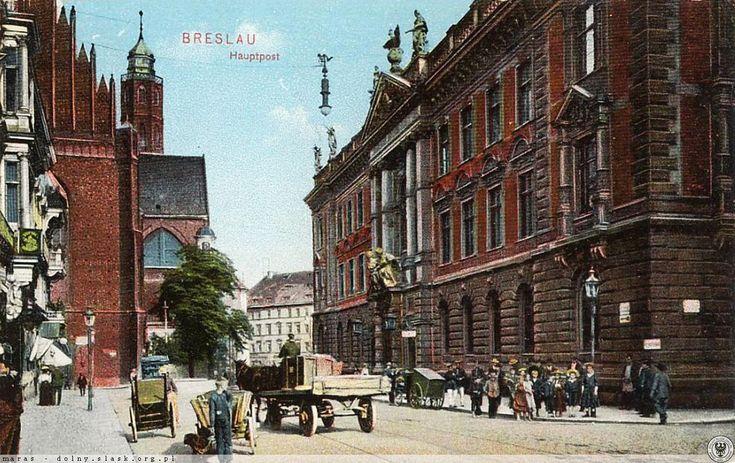 po prawej Poczta Główna na pl. Dominikańskim. Perełka, która przetrwała Festung Breslau, ale odbudowy Warszawy już nie.
