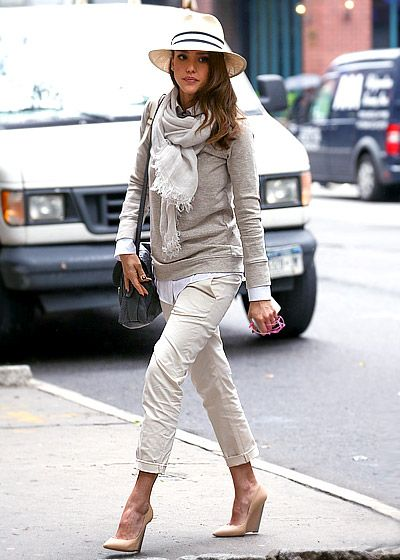 love this look: Shoes, Fall Neutral, Panama Hats, Style, Outfit, Wedges, Scarfs, Jessica Alba, Fall Hats