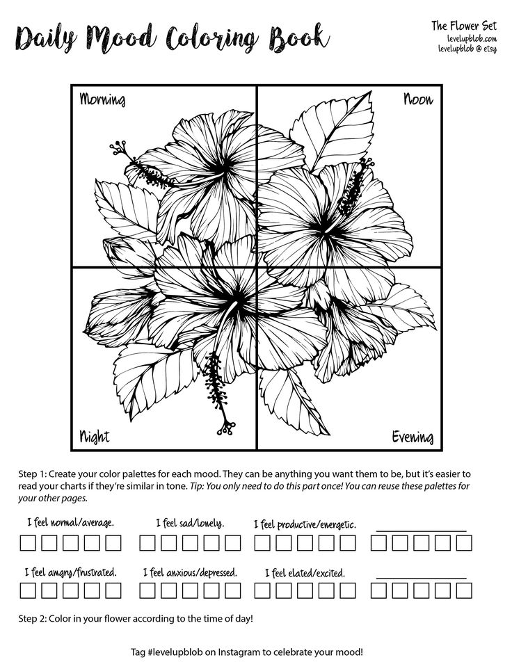 mood tracker daily bullet journal coloring pages flowers