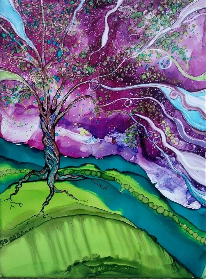 Abstract tree - alcohol ink by ©Megan Johnson / Hair of the Dog Art Studio (via Facebook)