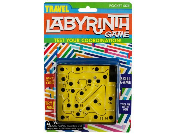 """Travel Labyrinth Game, 96 - Test your coordination with this pocket size Travel Labyrinth Game featuring a skill game with a maze and numbered holes to try to avoid with a metal ball. The object of the game is to move through the maze without falling into a hole. Measures approximately 4"""" x 1"""" x 4"""". Comes in assorted colors. Comes packaged in a blister pack.-Colors: transparent,black,yellow,blue. Material: plastic. Weight: 0.25/unit"""