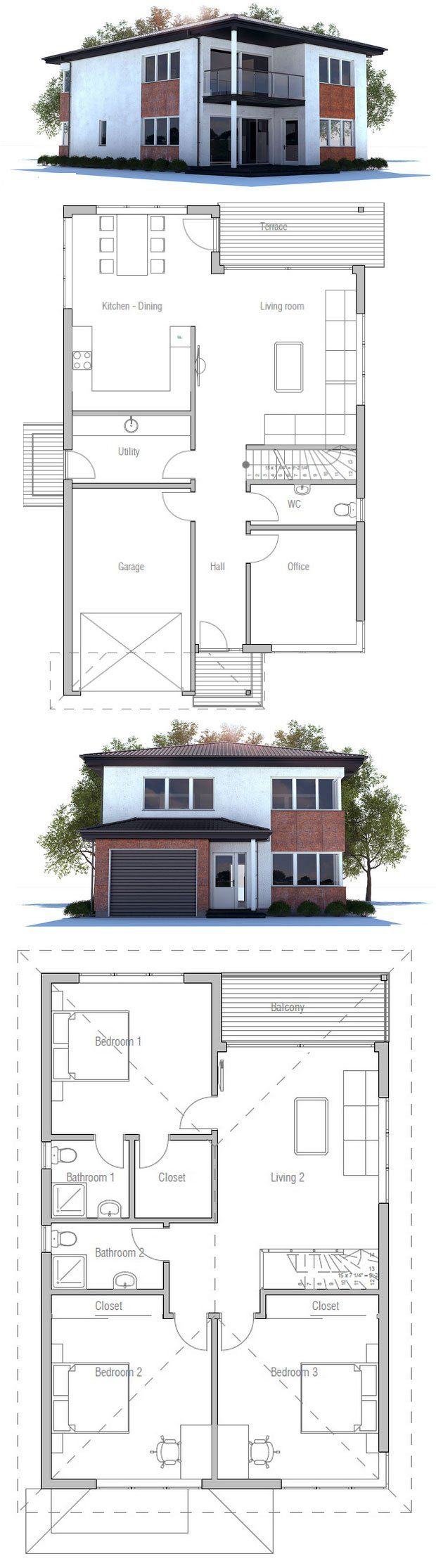 Narrow lot modern house plan floor plan from concepthome for Minimalist narrow house plans