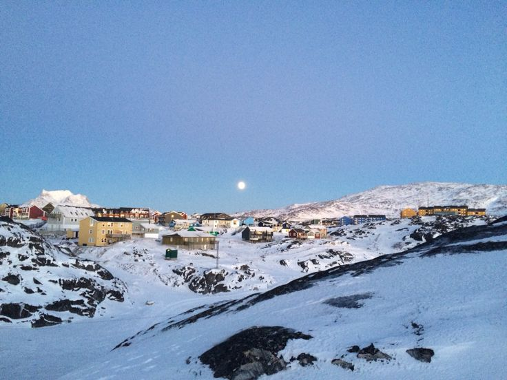 Christmas in The Capital of Greenland - Nuuk - Dark light Witt The moon shining