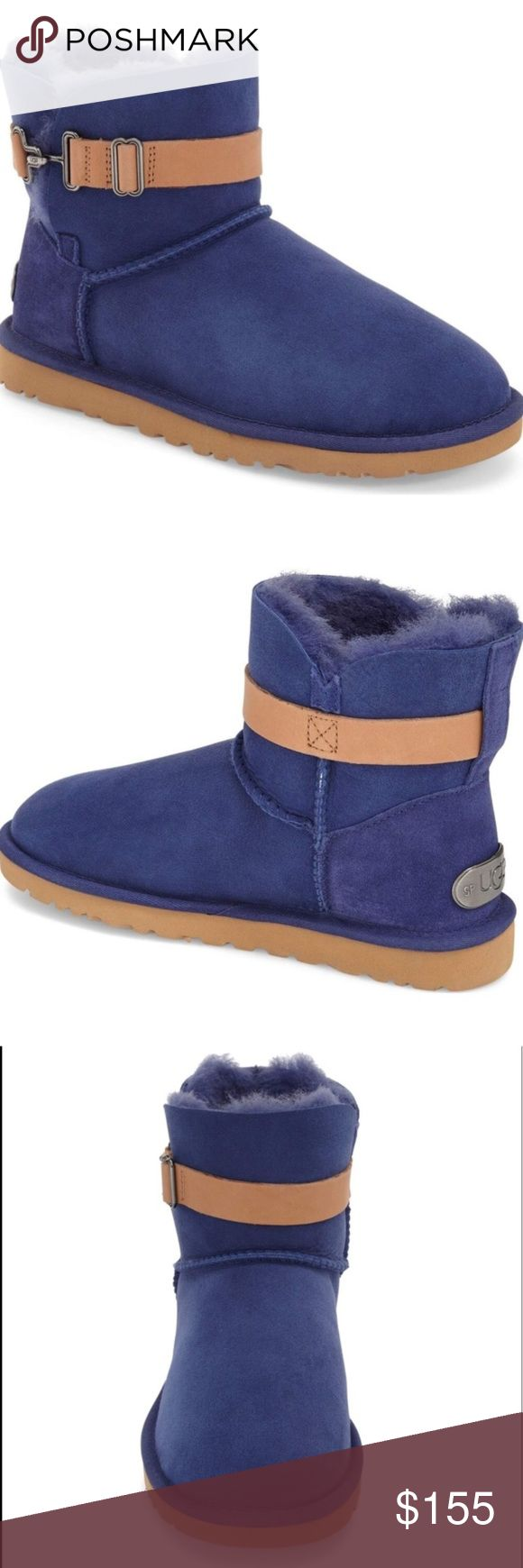 """UGG Boots Like new.  An adjustable belt bridges the split shaft of a cozy, comfortable boot cut from water-resistant suede. The plush, warm lining is made from genuine shearling and UGGpure™, a textile made entirely from wool but crafted to feel and wear like genuine shearling. 1"""" platform (size 9). 5 1/2"""" boot shaft. Slip-on style with adjustable strap. Leather upper/UGGpure wool and genuine shearling lining/EVA sole.  One shoe was tried on.  Take look at Bottom sole.  Almost like new. UGG…"""