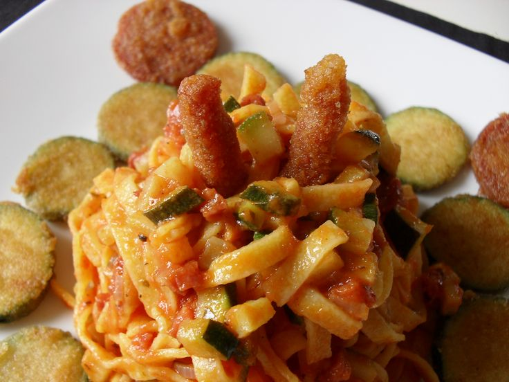 fettuccine with breaded salami and zucchini