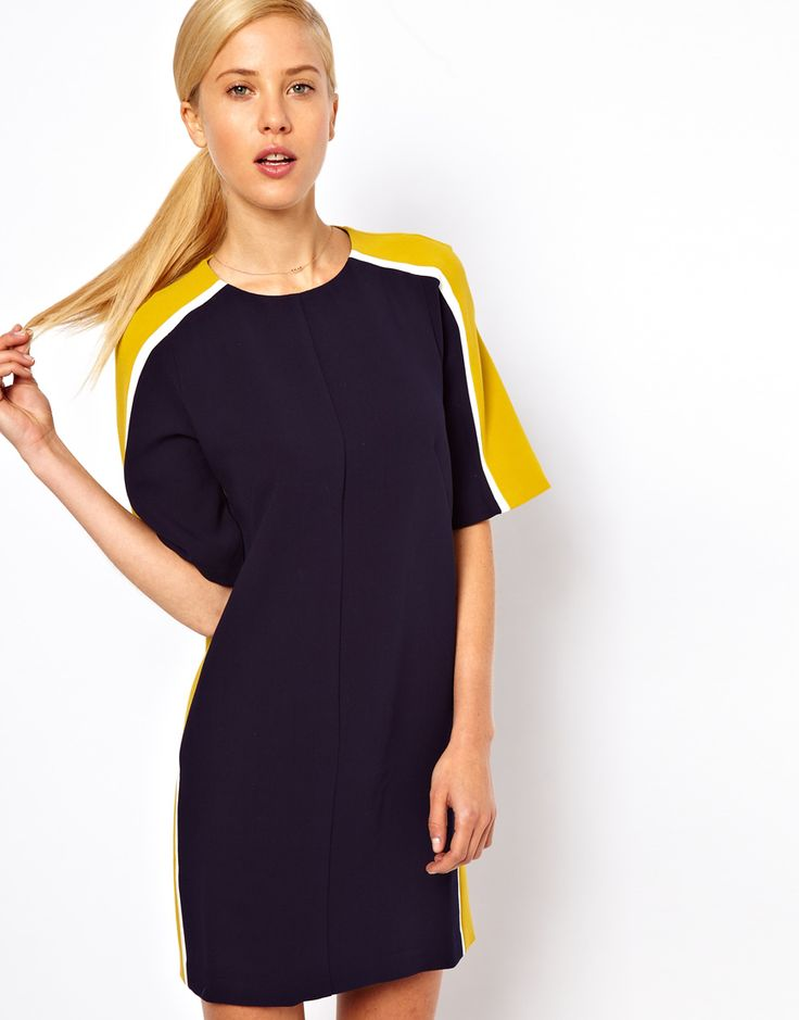 ASOS Shift Dress With Color Block Sides, would look cute with a yellow skinny belt wrapped around.