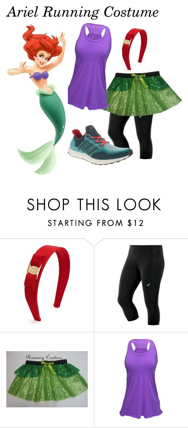 Ariel Running Costume by wendy-wallace-bruun on Polyvore featuring Asics, Salvatore Ferragamo, adidas, ariel, littlemermaid, running and Costume