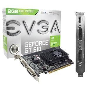 EVGA, GeForce GT610 2GB PCIE 2.0 (Catalog Category: Video Cards / Video Cards- PCI-e nVIDIA) by EVGA. $81.02. EVGA, GeForce GT610 2GB PCIE 2.0 (Catalog Category: Video Cards / Video Cards- PCI-e nVIDIA) EVGA GeForce GT 610 2GB DDR3 810MHZ Core Clock 1000 MHz Memory Clock 1620 MHz Shader Clock. 48 CUDA Cores PCI-E 2.0 Memory Bit Width: 64 Bit Memory Bandwidth: 8 GB/sec Texture Fill Rate: 6.5 GT/s. Features: NVIDIA PureVideo HD Technology Blu-ray 3D Support Microsoft Dir...