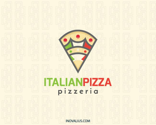 Italian Pizza is a logo in the shape of a slice of pizza with a bird with a crown in the center with the colors green, yellow, red, white and black. (drinks, food, pizza, fast food, Italian restaurant, Italian, food service, crown, flag, map, restaurant, fast food restaurants, pizza delivery, pizza deals, logo for sale, logo design, logo, logotipo).