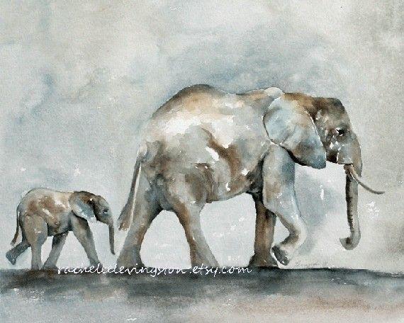 Baby Elephant PRINT / Elephant art PRINT by rachellelevingston, $16.00