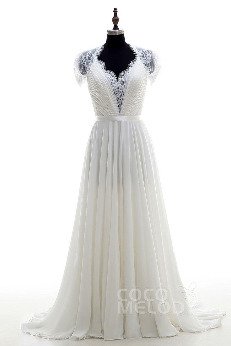 Perfect Sheath-Column V-Neck Natural Sweep-Brush Train Chiffon Ivory Short Sleeve Zipper With Buttons Wedding Dress Pleating Ribbons LD2676