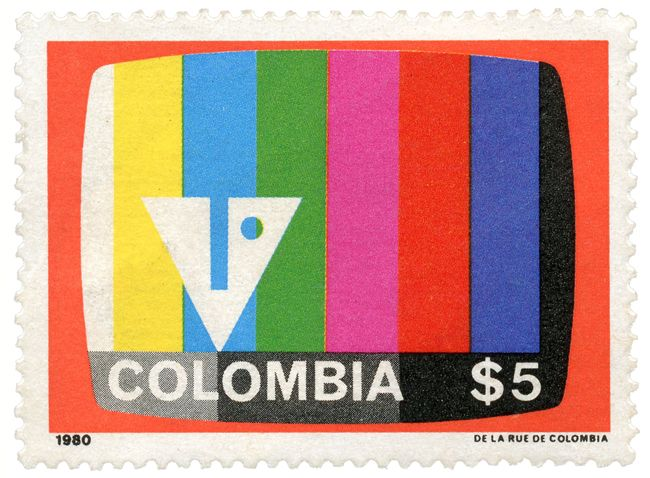 "Inravisión stamp (Inravisión was the ""National Institute of Radio & Television of Colombia, now defunct) designed by David Consuegra in 1964"