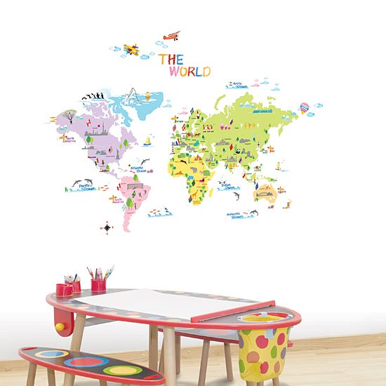 Look up the World Map Wall Stickers for Kids on the wallpaper or window.