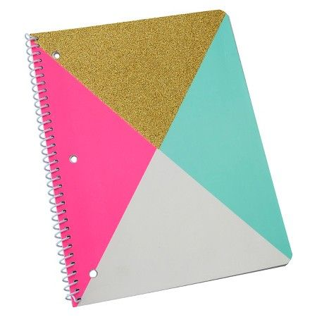 "Neon Glitz Spiral Notebook, College Ruled, 2 subject, 160pgs, 8.5"" x 11"" - Quad Panneling : Target"