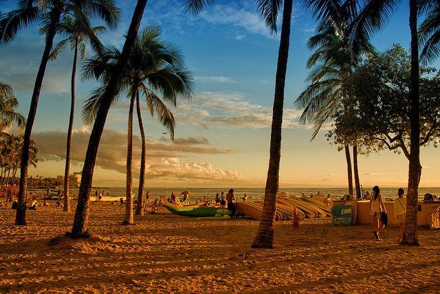 Waikiki Beach sunset , Hawaii