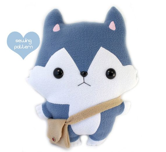Plushie Sewing Pattern PDF Cute Soft Plush Toy - Hachi Husky Wolf Stuffed Animal 14""