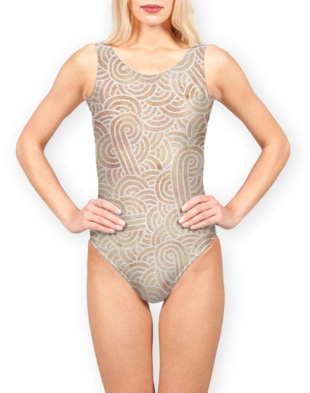 Iced coffee and white swirls doodles One Piece Swimsuit by @savousepate on miPic #neutralcolors #brown #beige #icedcoffee #onepieceswimsuit #swimsuit #swimwear