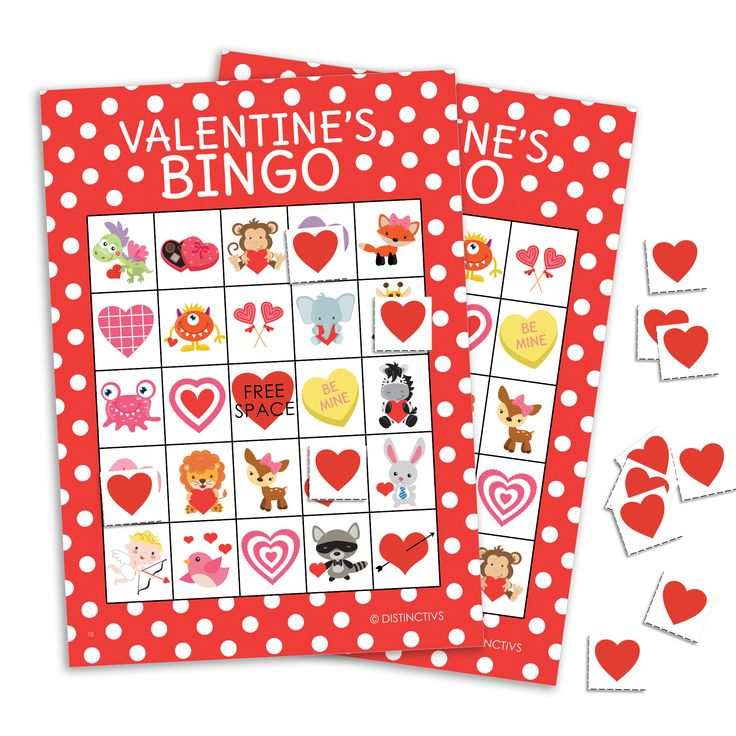 Valentine's Day Bingo Game Party Activity - 16 Player Cards