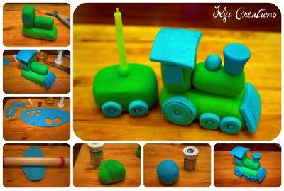 Gum Paste Train Cake Topper