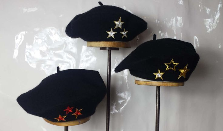 wool star beret three star berets black beret black berets gold star gold stars red star red stars white star white stars hat hats cap cap by rojasclothing on Etsy