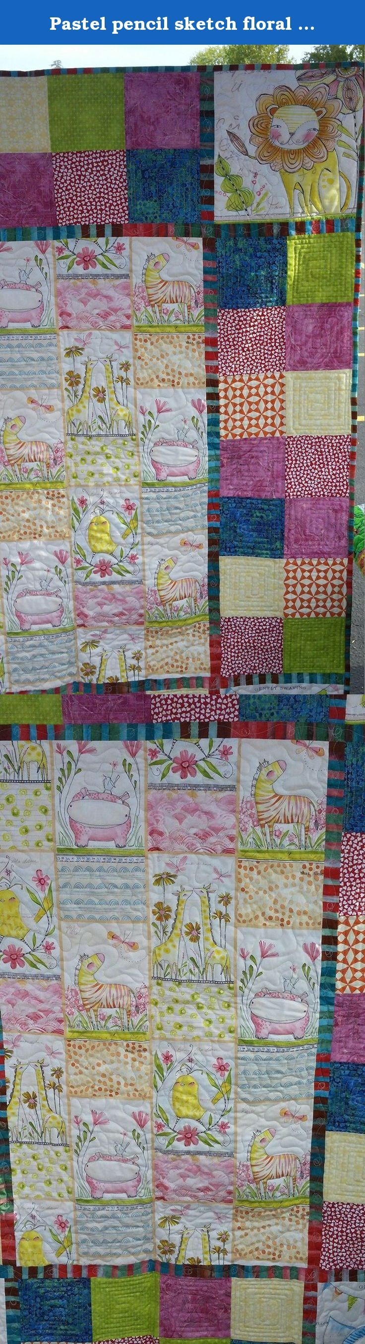 """Pastel pencil sketch floral and animal quilt - girls handmade blanket - white, pink, blue, green - 42""""x57"""" one of a kind. Do you have a new baby girl on the way? Maybe a little girl than needs a new cuddle blanket. This is the perfect gift to welcome a new baby or surprise your princess. I know your little girl with fall in love with the pencil sketched animals, their expressive faces and the flowers around them. I did while at the fabric store and just couldn't pass it up. As this quilt…"""