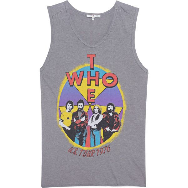 JUNK FOOD CLOTHING The Who Grey // Tank top with print found on Polyvore featuring tops, junk food clothing, pattern tank top, gray top, grey tank top and pattern tops