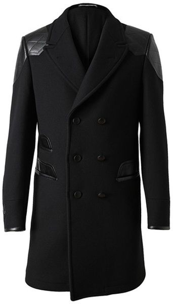 YSL Leather and Wool Coat