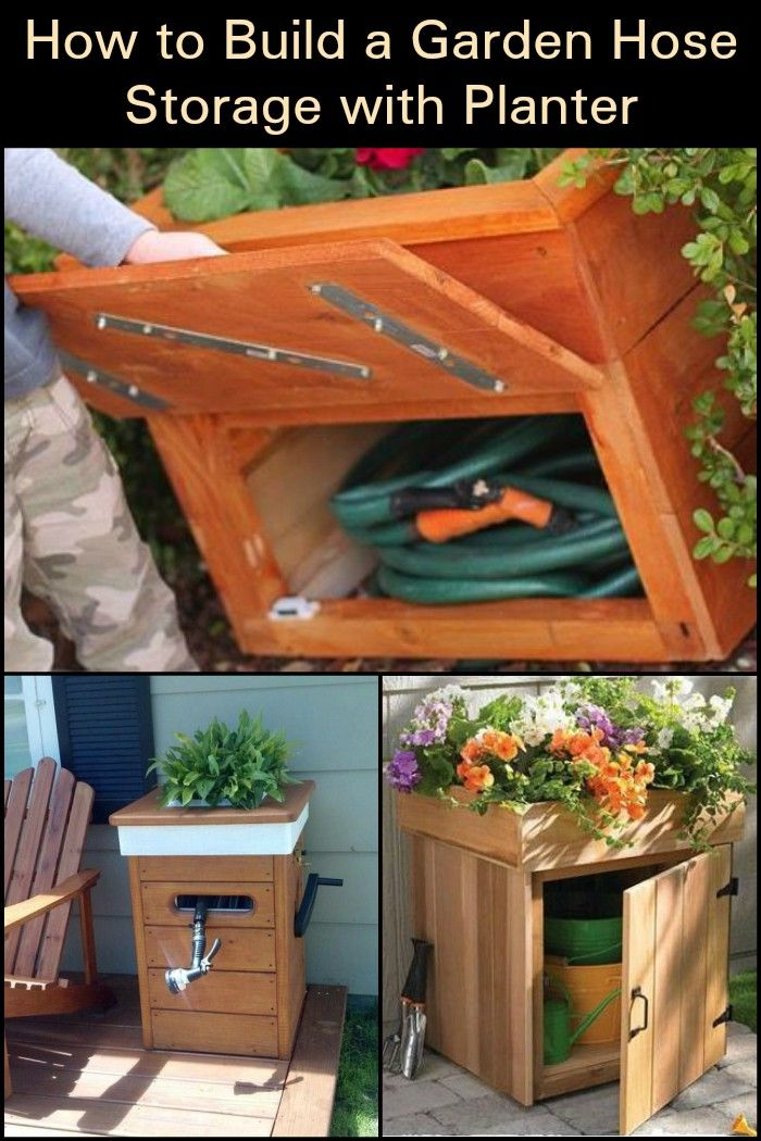 Build This Garden Hose Storage With Planter And You Get A Multi Functional Piece Garden Hose Storage Hose Storage Pallets Garden