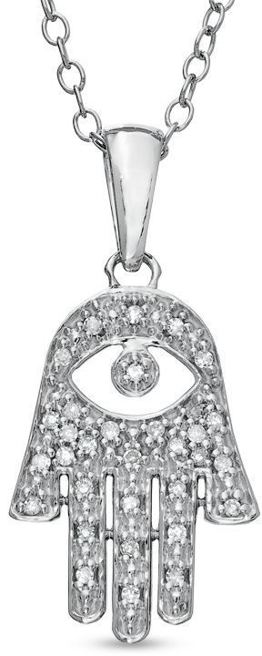 Zales 1/10 CT. T.W. Diamond Hand of Fatima with Evil Eye Pendant in Sterling Silver