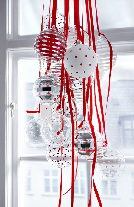 Christmas baubles on matching strings - A lovely way to add some color in your home