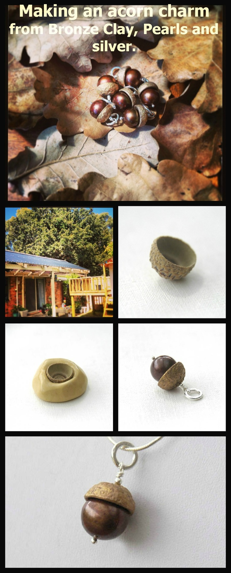 Hanging over my house from next door is a HUGE oak tree and I've been biding my time for the right acorn fall.... well finally it did! So I made a mould of the cap, cast some bronze clay into it, finished, fired and added patinas to it, fitted the actual acorn (a large, dyed brown freshwater pearl) and finished it with sterling silver fittings and all ready to go onto a chain of choice. Available at www.edendreams.com.au