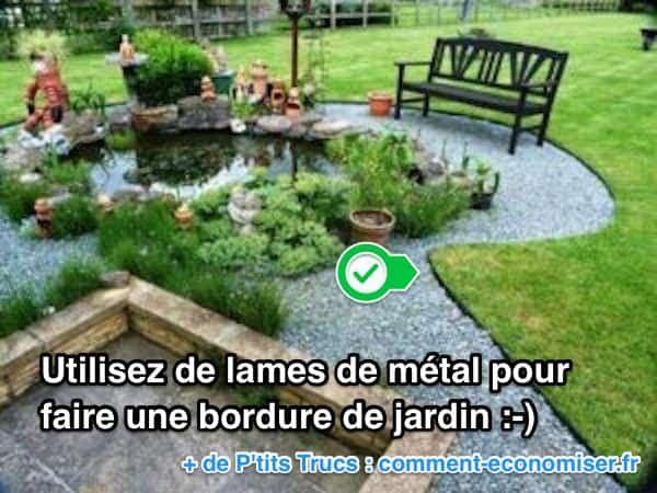 Une solution peu chère pour faire une bordure de jardin est d'utiliser des lames en métal.