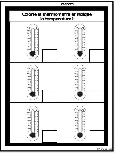 GRATUIT - FREEBIE - Température: lire le thermomètre. Imprimer pour vos élèves.