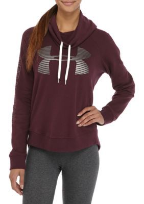 Under Armour Women's Fav Flc Metallic Logo Hoodie - Maroon/Silver