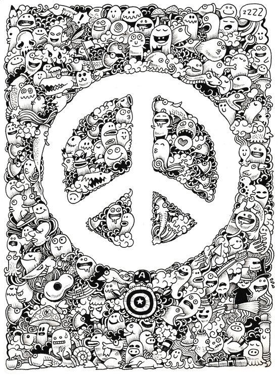 Peace Doodle Art Print Art Art