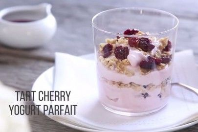 Add Montmorency tart cherry juice concentrate to a bowl of greek yogurt, and start your day colorfully.