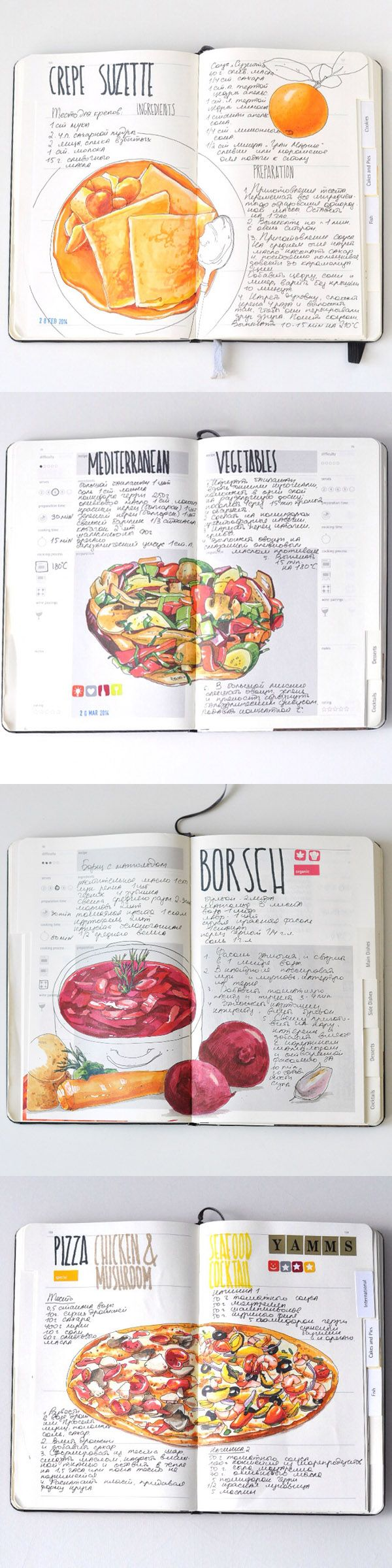 Recipe journal 2014 by Sally Mao - my weekend and next week cooking planned! #Illustration #cooking