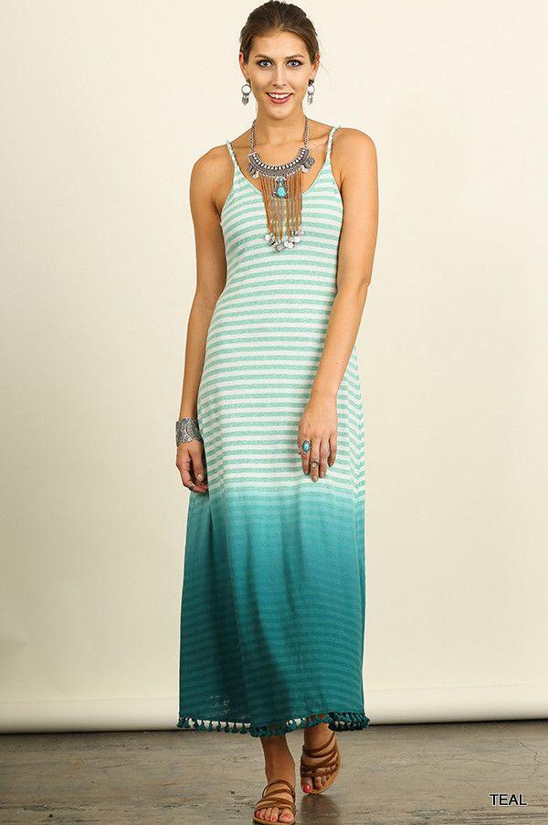 Sleeveless Ombre Striped Maxi Dress