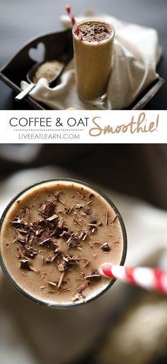 This healthy coffee breakfast smoothie recipe is every non-morning person's dream come true. Packed with whole grains, fruit, and coffee, it has everything needed to get you from 0 to fully functioning adult ready to face the world in minutes. // Live Eat Learn