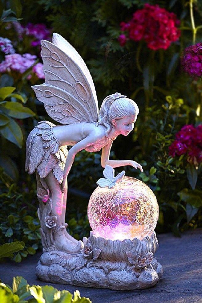 Garden Statue Fairy With Globe Solar Powered Lawn Ornaments Outdoor Patio Decor Ebay Garden Statues Outdoor Garden Decor Outdoor Patio Decor