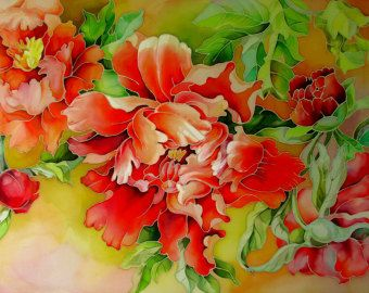 Batik Painting Peony Painting Silk Painting With Butterfly