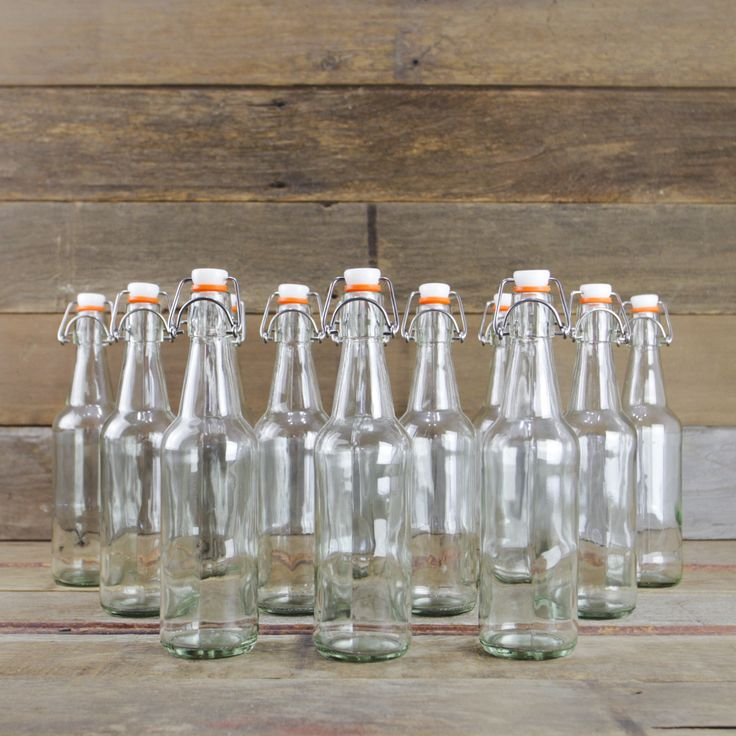 Flip-Top 500ml Bottles, Clear, Case/12 from Mountain Feed